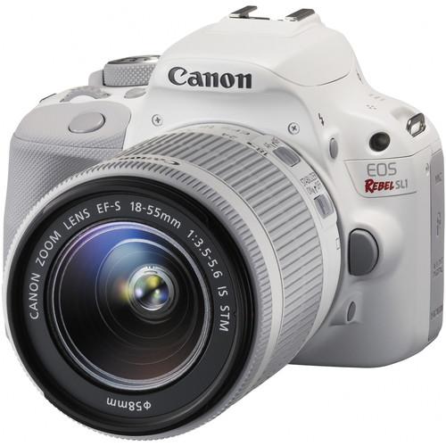 Canon EOS Rebel SL1 DSLR Camera with 18-55mm Lens Deluxe Kit (White)