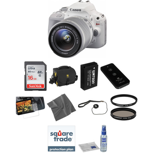 Canon EOS Rebel SL1 DSLR Camera with 18-55mm Lens Deluxe Kit (White)