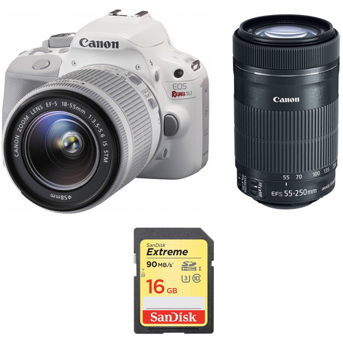 Canon EOS Rebel SL1 DSLR Camera with 18-55mm and 55-250mm Lenses Kit (White)