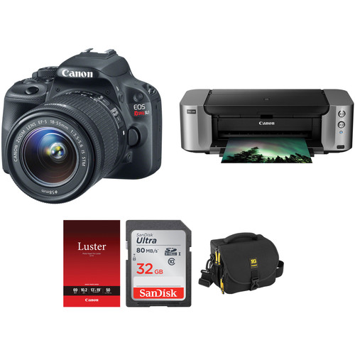 Canon EOS Rebel SL1 DSLR Camera Kit with 18-55mm STM Lens and Inkjet Printer