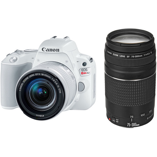 Canon EOS Rebel SL2 DSLR Camera with 18-55mm and 75-300mm Lenses Kit (White)