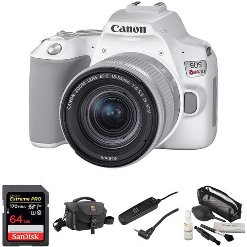 Canon EOS Rebel SL3 DSLR Camera with 18-55mm Lens Basic Kit (White)
