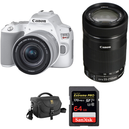 Canon EOS Rebel SL3 DSLR Camera with 18-55mm and 55-250mm Lenses Kit (White)