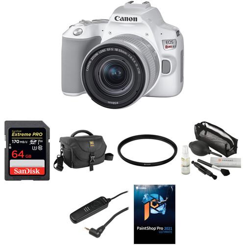 Canon EOS Rebel SL3 DSLR Camera with 18-55mm Lens Deluxe Kit (White)