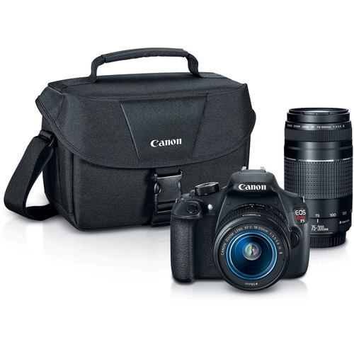 Canon EOS Rebel T5 DSLR Camera with 18-55mm and 75-300mm Lenses and Inkjet Printer Kit