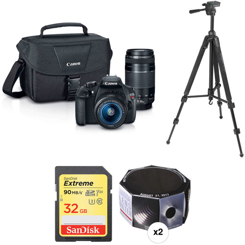 Canon EOS Rebel T5 DSLR with 18-55mm and 75-300mm Lenses Essential Solar Eclipse Kit