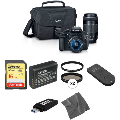 Canon EOS Rebel T5 DSLR Camera with 18-55mm and 75-300mm Lenses Bundle Deluxe Kit