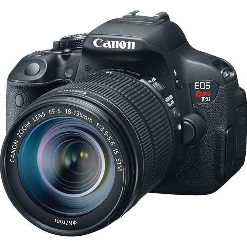 Canon EOS Rebel T5i DSLR Camera with 18-135mm Lens and Inkjet Printer Kit