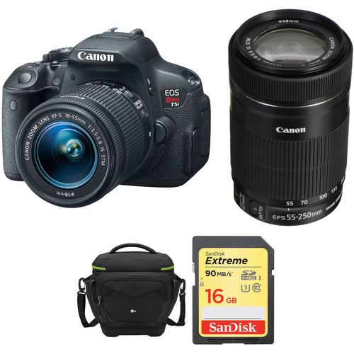 Canon EOS Rebel T5i DSLR Camera with 18-55mm and 55-250mm Lenses Kit