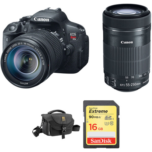 Canon EOS Rebel T5i DSLR Camera with 18-135mm and 55-250mm Lenses Kit