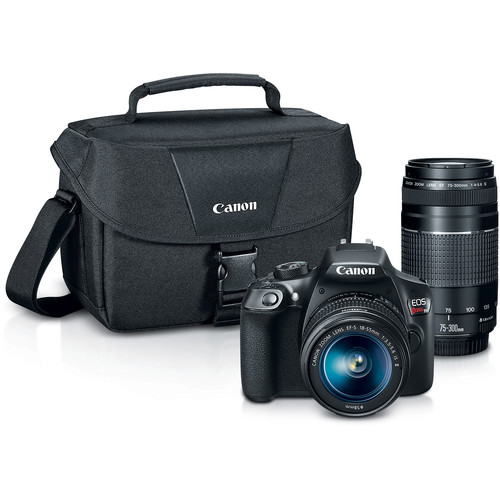 Canon EOS Rebel T6 DSLR Camera with 18-55mm and 75-300mm Lenses and Inkjet Printer Kit