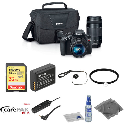 Canon EOS Rebel T6 DSLR Camera with 18-55mm and 75-300mm Lenses Deluxe Kit