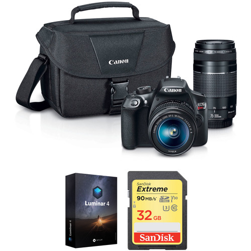 Canon EOS Rebel T6 DSLR Camera with 18-55mm and 75-300mm Lenses and Free Accessory Kit