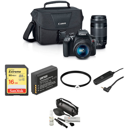 Canon EOS Rebel T6 DSLR Camera with 18-55mm and 75-300mm Lenses Basic Kit