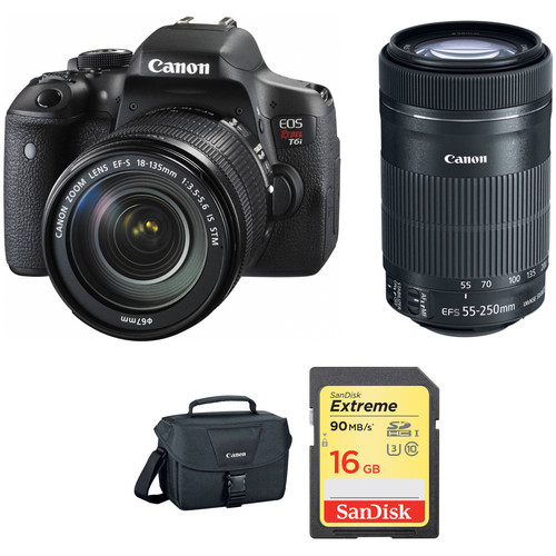 Canon EOS Rebel T6i DSLR Camera with 18-135mm and 55-250mm Lenses Kit