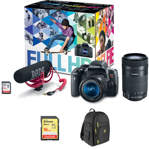 Canon EOS Rebel T6i DSLR Camera with 18-55mm Lens Video Creator Kit with 55-250mm Lens
