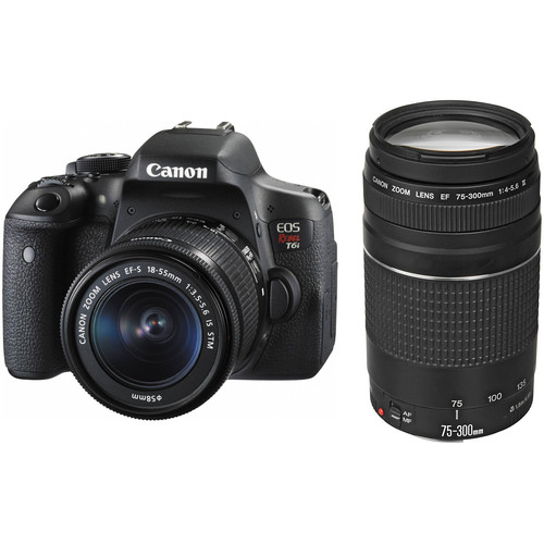 Canon EOS Rebel T6i DSLR Camera with 18-55mm with 75-300mm Lenses Kit