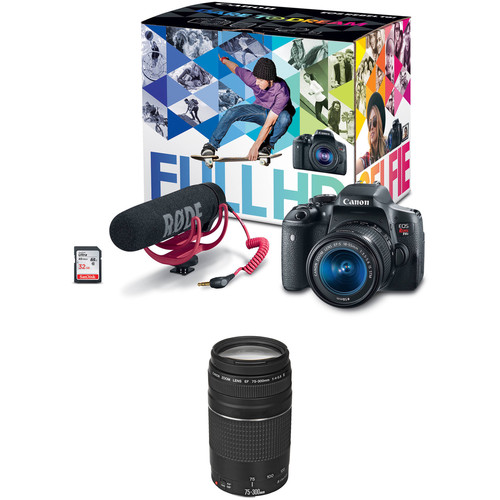 Canon EOS Rebel T6i DSLR Camera with 18-55mm Lens Video Creator Kit with 75-300mm Lens