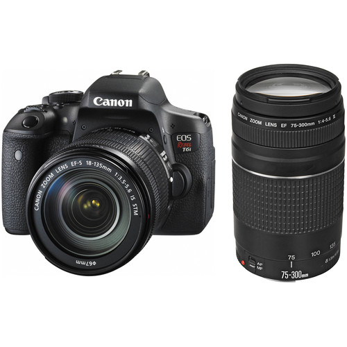 Canon EOS Rebel T6i DSLR Camera with 18-135mm and 75-300mm Lenses Kit