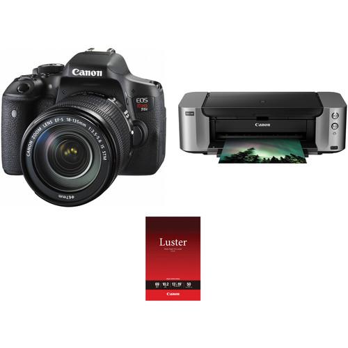 Canon EOS Rebel T6i DSLR Camera with 18-135mm Lens and Inkjet Printer Kit