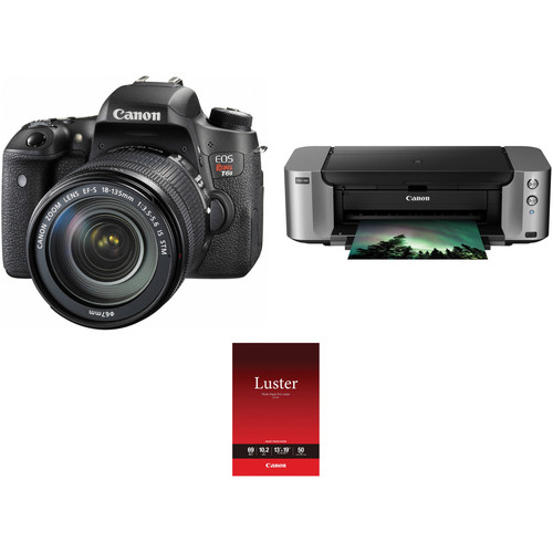 Canon EOS Rebel T6s DSLR Camera with 18-135mm Lens and Inkjet Printer Kit