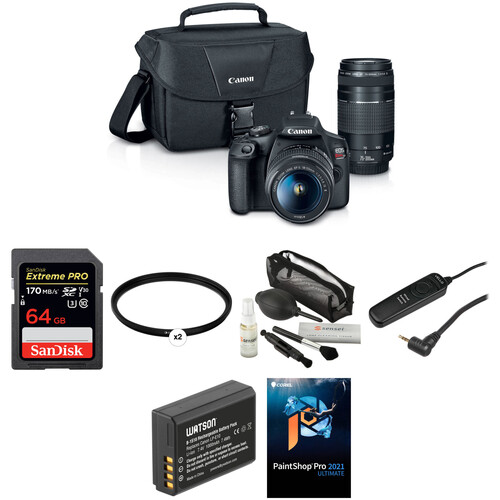 Canon EOS Rebel T7 DSLR Camera with 18-55mm and 75-300mm Lenses Deluxe Kit