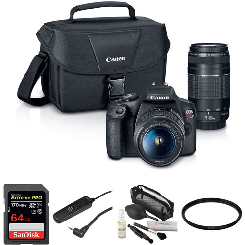Canon EOS Rebel T7 DSLR Camera with 18-55mm and 75-300mm Lenses Basic Kit