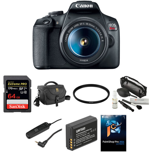 Canon EOS Rebel T7 DSLR Camera with 18-55mm Lens Deluxe Kit