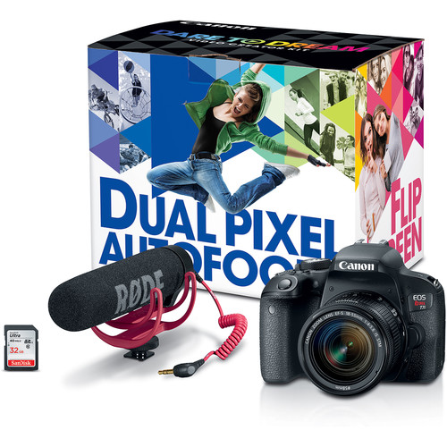 Canon EOS Rebel T7i DSLR Camera with 18-55mm and 55-250mm Lenses Video Creator Kit