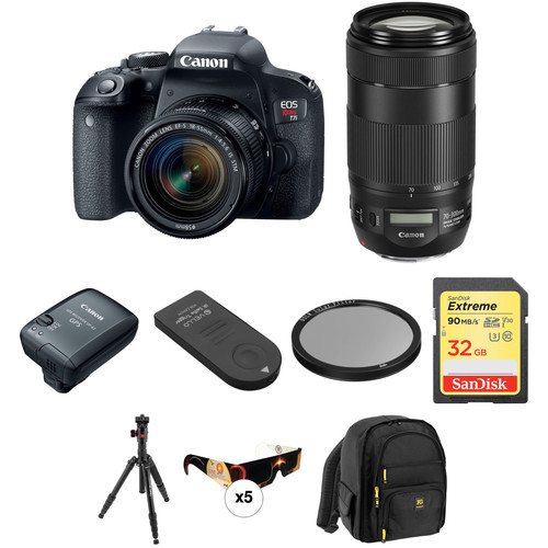 Canon EOS Rebel T7i DSLR Camera with 18-55mm and 70-300mm Lenses Solar Eclipse Kit