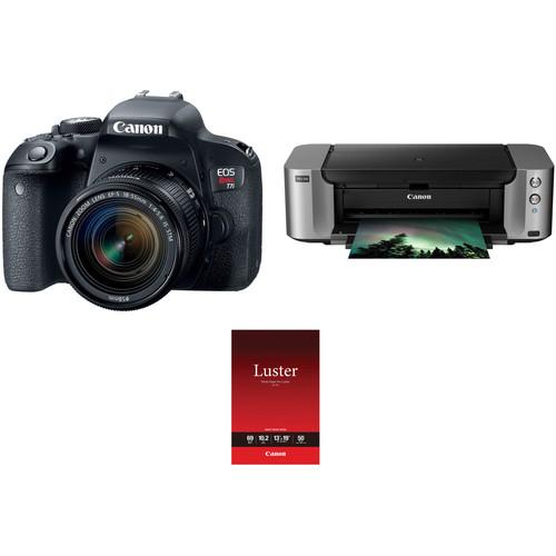 Canon EOS Rebel T7i DSLR Camera with 18-55mm Lens and Inkjet Printer Kit