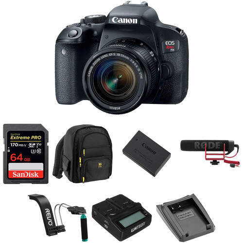 Canon EOS Rebel T7i DSLR Camera with 18-55mm Lens Video Kit