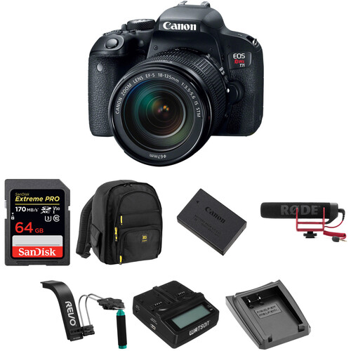Canon EOS Rebel T7i DSLR Camera with 18-135mm Lens Video Kit