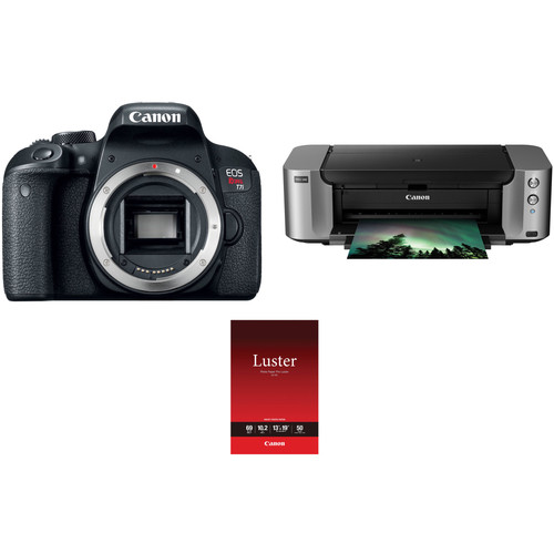 Canon EOS Rebel T7i DSLR Camera Body with Inkjet Printer Kit
