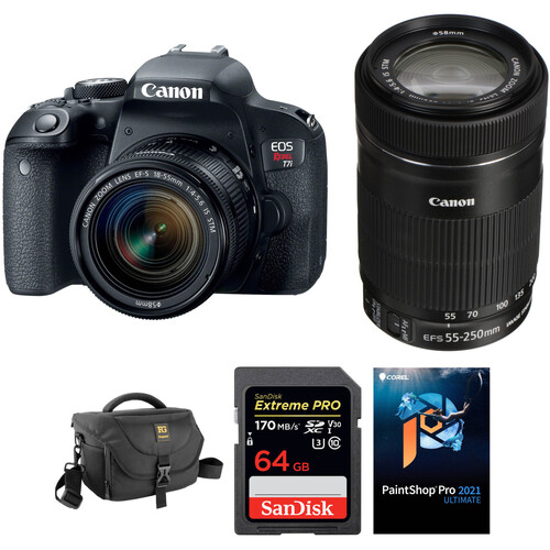 Canon EOS Rebel T7i DSLR Camera with 18-55mm and 55-250mm Lenses and Accessories Kit