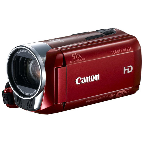 Canon 8GB LEGRIA HF R36 HD Camcorder with WiFi (PAL, Red)