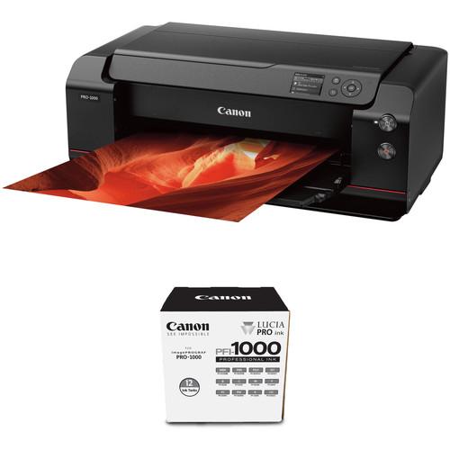 "Canon imagePROGRAF PRO-1000 17"" Professional Photographic Inkjet Printer with Extra Ink Tank Set Kit"