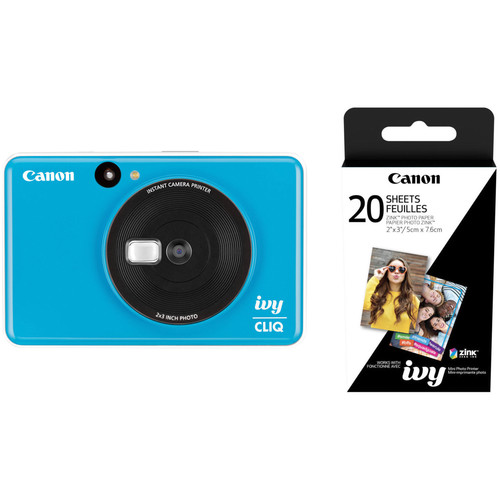Canon IVY CLIQ Instant Camera Printer with 20 Sheets of Paper Kit (Seaside Blue)