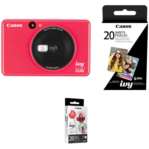 Canon IVY CLIQ Instant Camera Printer with 20 Sheets of Paper Kit (Ladybug Red)
