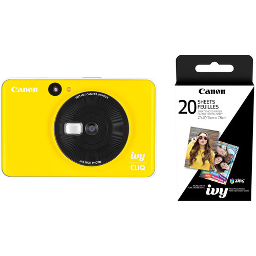 Canon IVY CLIQ Instant Camera Printer with 20 Sheets of Paper Kit (Bumblebee Yellow)