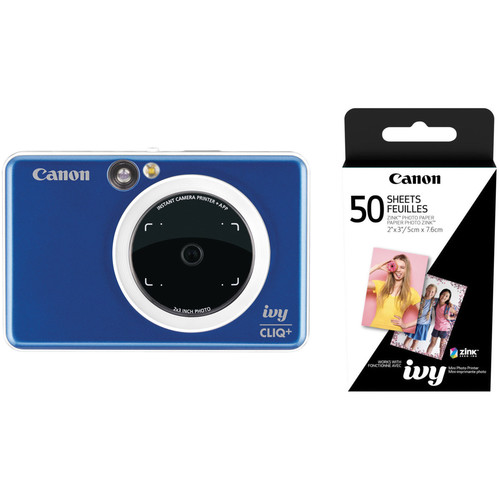 Canon IVY CLIQ+ Instant Camera Printer with 50 Sheets of Paper Kit (Sapphire Blue)