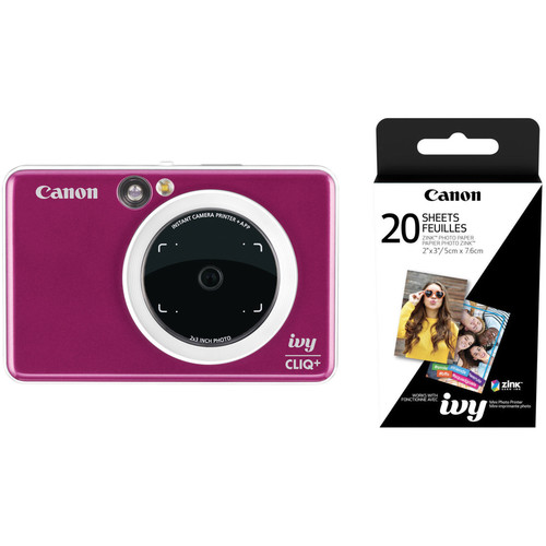 Canon IVY CLIQ+ Instant Camera Printer with 20 Sheets of Paper Kit (Ruby Red)