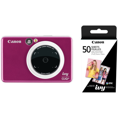Canon IVY CLIQ+ Instant Camera Printer with 50 Sheets of Paper Kit (Ruby Red)