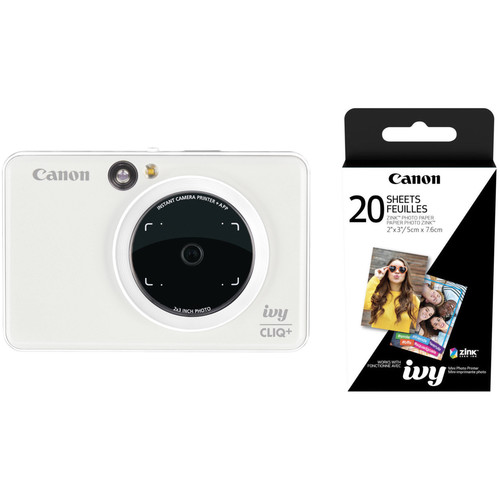 Canon IVY CLIQ+ Instant Camera Printer with 20 Sheets of Paper Kit (Pearl White)