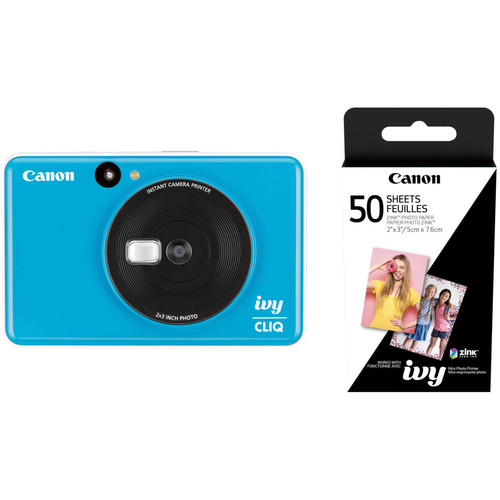 Canon IVY CLIQ Instant Camera Printer with 50 Sheets of Paper Kit (Seaside Blue)