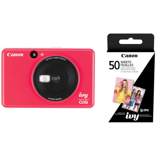 Canon IVY CLIQ Instant Camera Printer with 50 Sheets of Paper Kit (Ladybug Red)