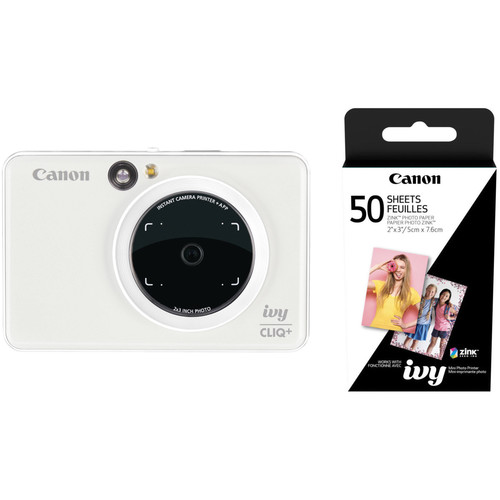 Canon IVY CLIQ+ Instant Camera Printer with 50 Sheets of Paper Kit (Pearl White)