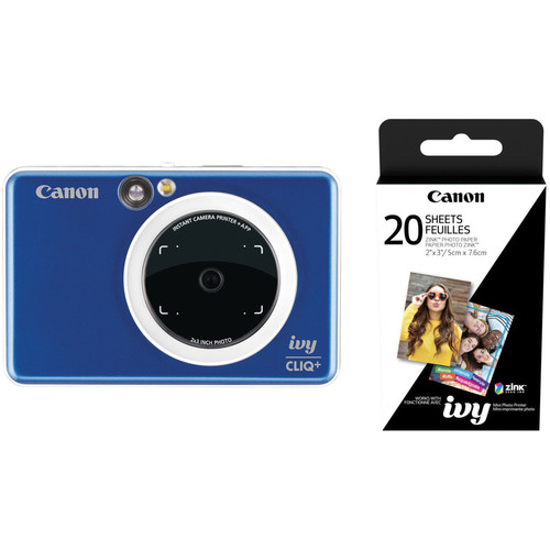 Canon IVY CLIQ+ Instant Camera Printer with 20 Sheets of Paper Kit (Sapphire Blue)