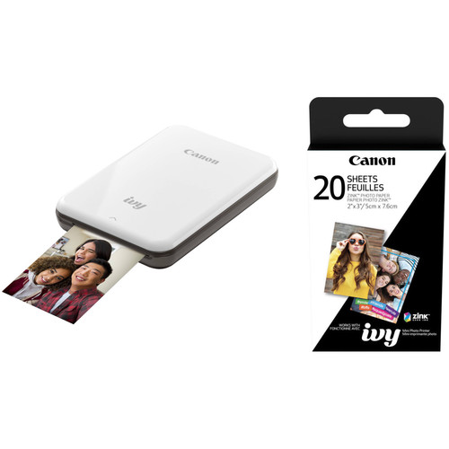 """Canon IVY Mini Mobile Photo Printer (Slate Gray) with 2 x 3"""" ZINK Photo Paper Pack (20 Sheets)"""