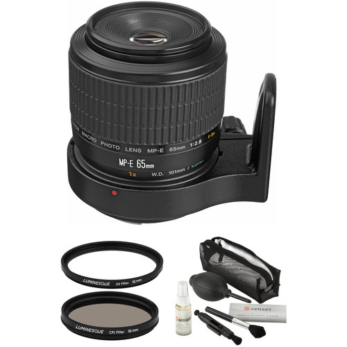 Canon MP-E 65mm f/2.8 1-5x Macro Photo Lens with Accessories Kit
